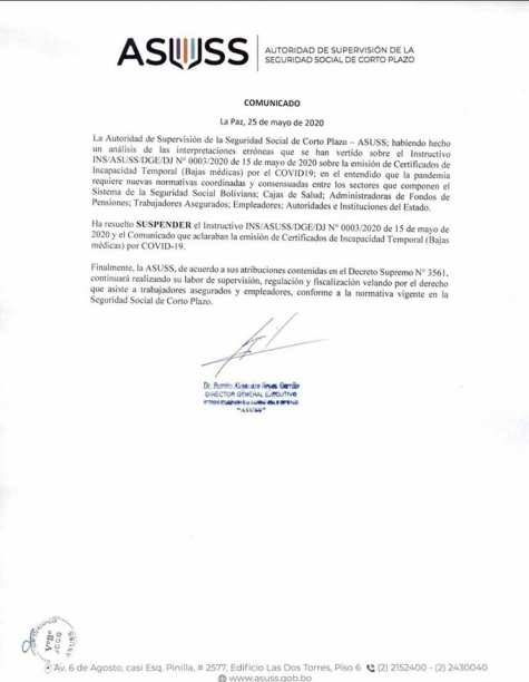 LA ASUSS SUSPENDE INSTRUCTIVO SOBRE EL COVID19
